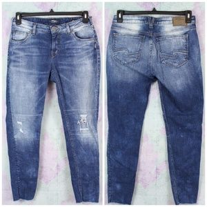 Silver Jeans Distressed Moto Girlfriend Jeans Raw